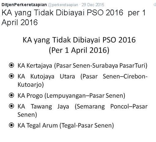 KA Yang tidak dilayani PSO 2016